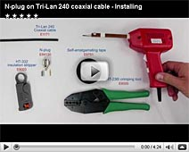 N-plug on Tri-Lan 240 coaxial cable - Installing